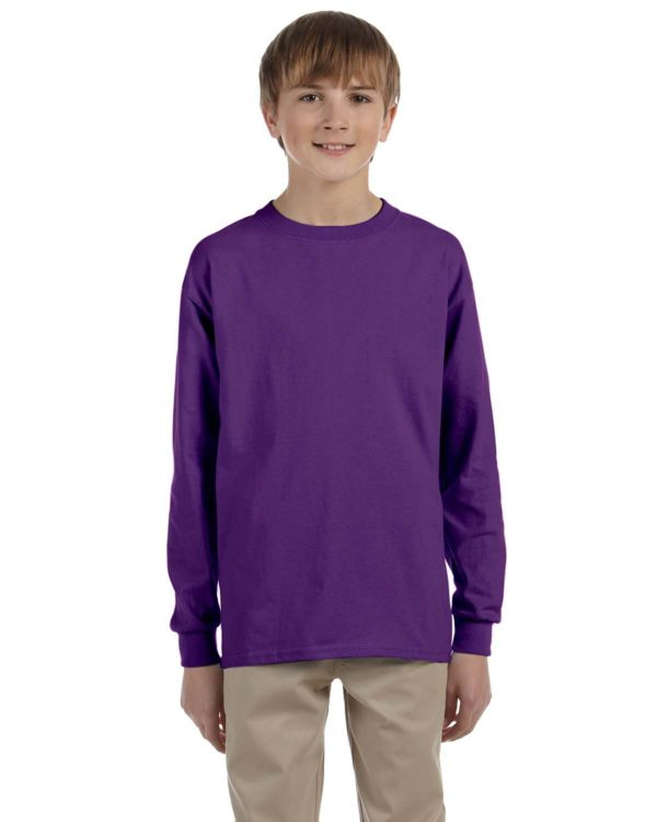 G-2400B Gildan Youth Long Sleeve Shirt Front