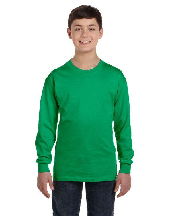 G-5400B Gildan Youth Long Sleeve Shirt Front