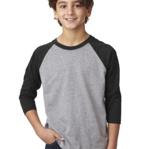 Next Level 3352 Youth CVC 3/4 Sleeve Raglan Front