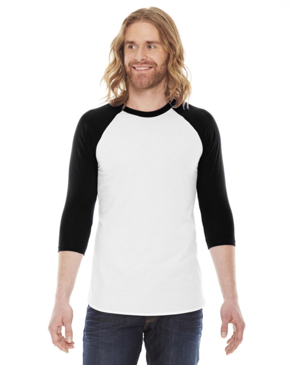 American Apparel BB453 Unisex Poly-Cotton 3/4 Sleeve Raglan Front