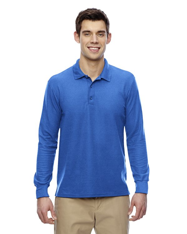 Gildan G72900 Adult Double Pique Long Sleeve Polo Front