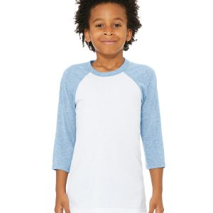 Bella Canvas 3200Y Youth 3/4-Sleeve Baseball T-Shirt Front