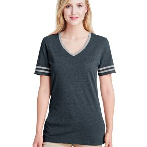 Jerzees 602WVR Ladies Triblend Varisty V-Neck T-Shirt Front