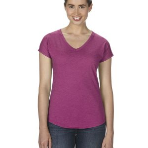 Anvil 6750VL Ladies Triblen V-Neck T-Shirt Front