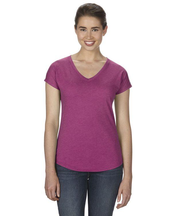 Anvil 6750VL Ladies Triblen V-Neck T-Shirt Front