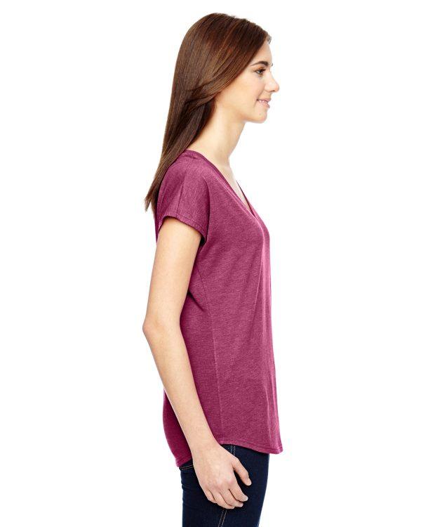 Anvil 6750VL Ladies Triblen V-Neck T-Shirt Side