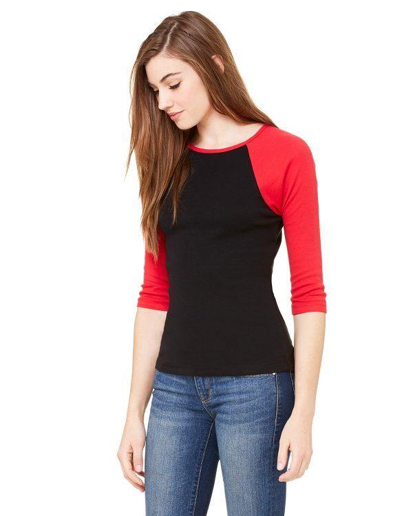 Bella Canvas B2000 Ladies 3/4 Sleeve Raglan T-Shirt Side