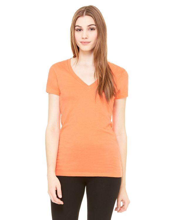 Bella Canvas B6035 Ladies Jersey Short-Sleeve V-Neck T-Shirt Front