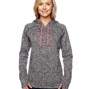 J America JA8616 Ladies Cosmic Contrast Fleece Hood Front