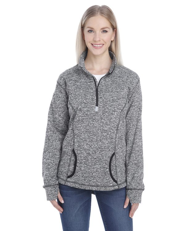 J America JA8617 Ladies Cosmic Fleece Quarter-Zip Front