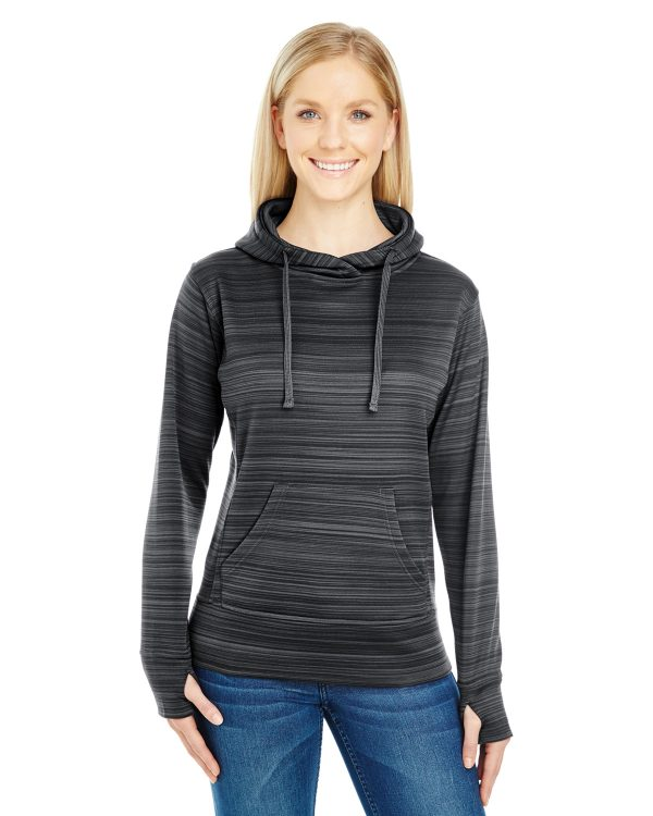 J America JA8662 Ladies Odyssey Striped Poly Fleece Lapover Hood Front