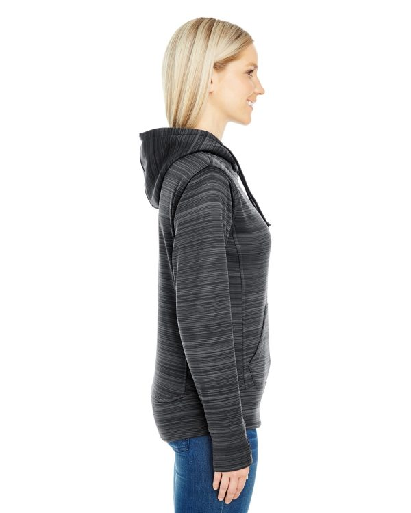 J America JA8662 Ladies Odyssey Striped Poly Fleece Lapover Hood Side