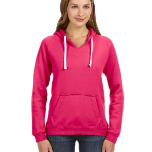 J America JA8836 Ladies Sydney Brushed V-Neck Hood Front