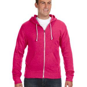 J America JA8872 Adult Triblend Full-Zip Fleece Hood Front