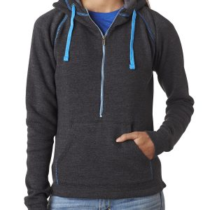 J America JA8876 Ladies Triblend Half-Zip Fleece Hood Front