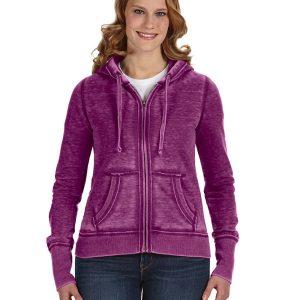 J America JA8913 Ladies Zen Full-Zip Fleece Hood Front
