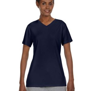 Hanes 483V Ladies Cool DRI V-Neck Performance T-Shirt Front