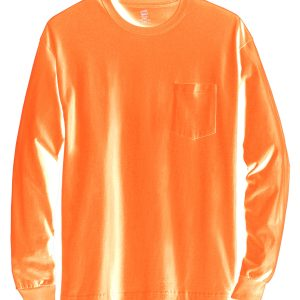 Hanes 5596 Men's Tagless Long-Sleeve Pocket T-Shirt Front