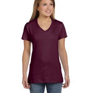 Hanes S04V Ladies nano-T V-Neck T-Shirt Front