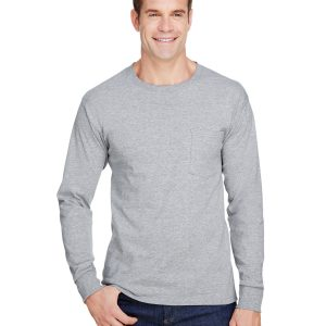 Hanes W120 Adult Workwear Long-Sleeve Pocket T-Shirt Front